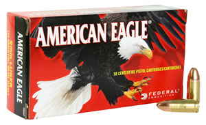 Federal American Eagle Ammunition AE9AP, 9 mm, Full Metal Jacket, 124 GR, 1090 fps, 50 Rd/bx