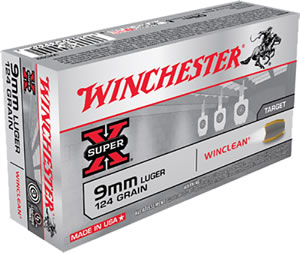 Winchester WinClean Handgun Ammunition WC92, 9 MM, Brass Enclosed Base, 124 GR, 1130 fps, 50 Rd/bx