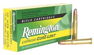 Remington Centerfire Rifle Cartridges R32WS2, 32 Winchester Special, Core-Lokt Soft Point, 170 GR, 2250 fps, 20 Rd/bx