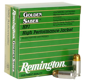 Remington Golden Saber HPJ Pistol Ammunition GS380B, 380 ACP, BJHP, 102 GR, 940 fps, 25 Rd/bx