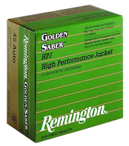 Remington Golden Saber HPJ Pistol Ammunition GS38SB, 38 Special + P, BJHP, 125 GR, 975 fps, 25 Rd/bx