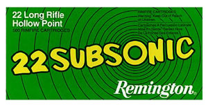 Remington Rimfire Ammunition SUB22HP, 22 Long Rifle, Hollow Point, 38 GR, 1050 fps, 50 Rd/5bx, 250 Rds
