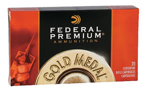 Federal Premium Gold Medal Ammunition GM223M, 223 Remington, Sierra MatchKing BTHP, 69 GR, 2950 fps, 20 Rd/bx