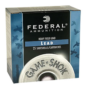 Federal Premium Game Shok Game Load H1218, 12 Gauge, 2 3/4 in, 1 oz, 1290 fps, #8 Lead Shot, 25 Rd/bx, Case of 10 Boxes