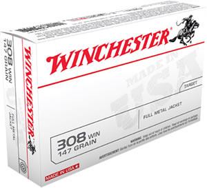Winchester USA Centerfire Rifle Ammunition USA3081, 308 Winchester, Full Metal Jacket Boat-Tail, 147 GR, 2800 fps, 20 Rd/bx
