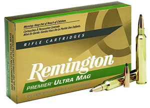 Remington Premier Ultra Mag Rifle Ammunition PR300SM2, 300 Remington Short Action Ultra Mag, Core-Lokt Pointed Soft Point, 165 GR, 3075 fps, 20 Rd/bx