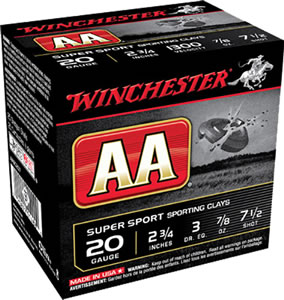 Winchester AA SuperSport Sporting Clays AASC207, 20 Gauge, 2 3/4 in, 7/8 oz, 1300 fps, #7 1/2 Lead Shot, 25 Rd/bx, Case of 10 Boxes