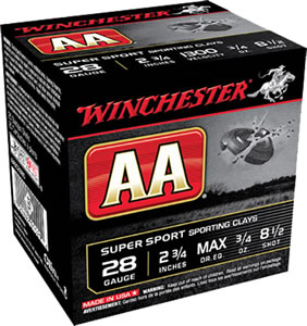 Winchester AA SuperSport Sporting Clays AASC2885, 28 Gauge, 2 3/4 in, 3/4 oz, 1300 fps, #8 1/2 Lead Shot, 25 Rd/bx, Case of 10 Boxes