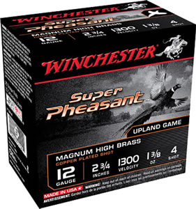 Winchester Super-X Pheasant Loads X12P4, 12 Gauge, 2 3/4 in, 1 1/4 oz, 1220 fps, #4 Lead Shot, 25 Rd/bx, Case of 10 Boxes
