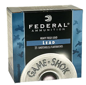 Federal Premium Game Shok Heavy Field H1234, 12 Gauge, 2 3/4 in, 1 1/8 oz, 1255 fps, #4 Lead Shot, 25 Rd/bx, Case of 10 Boxes