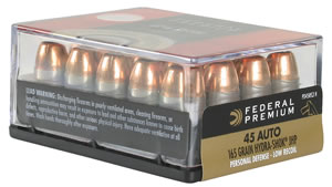 Federal Premium Personal Defense Ammunition PD45CSP2H, 45 ACP + P, Expanding Full Metal Jacket, 165 GR, 1140 fps, 20 Rd/bx