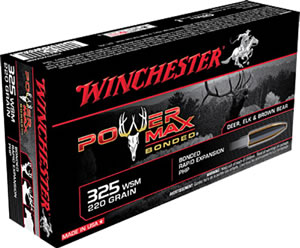 Winchester Power Max Bonded Ammunition X325WSMBP, 325 Winchester Short Magnum, Power Max Bonded, 220 GR, 2840 fps, 20 Rd/bx