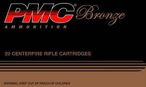 PMC Bronze Line Rifle Ammunition 223A, 223 Remington, FMJ Boat-Tail, 55 GR, 3200 fps, 20 Rds/Box