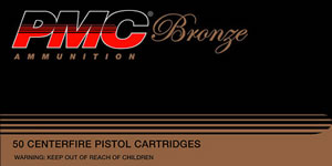 PMC Bronze Line Pistol/Revolver Ammunition 38SA, 38 Super Auto + P, Full Metal Jacket, 130 GR, 1090 fps, 50 Rd/bx