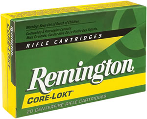Remington Premier Ammunition R93X621, 9.3 X 62, Core-Lokt Pointed Soft Point, 286 GR, 2360 fps, 20 Rd/bx