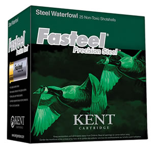 Kent Fasteel Waterfowl K122ST304, 12 Gauge, 2.75 in, 1 1/16 oz, 1550 fps, #4 Steel Shot , 25 Rd/bx