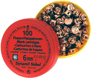 RWS 2130521, Pointed Flobert Bulleted Cartridges, Copper, 6mm/.22 Cal, 100 Rds