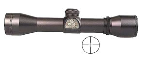 Thompson Center Hawken Hunter Rifle Scope 8662, 4x, 32mm Obj, 1 in Tube Dia, Matte Black, Center Plex and Inner Circle Reticle