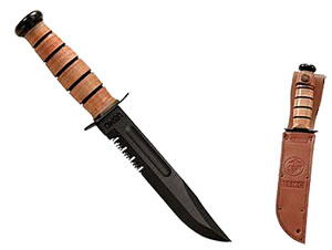 Kabar USMC Serrated Edge Knife w/Leather Sheath 1218, Large 12 in O.A.L.