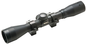 BSA Rimfire Airgun Rifle Scope Rifle Scope S4X32WR, 4x, 32mm Obj, 1 in Tube Dia, Matte Black, Duplex Reticle