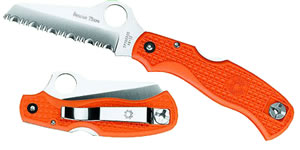 Spyderco Rescue Jr Sheepsfoot Blade Folding Knife w/Orange Handle C45SOR