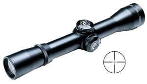 Thompson Center Hawken Hunter Rifle Scope 8658, 1x, 32mm Obj, 1 in Tube Dia, Matte Black, Center Plex and Inner Circle Reticle