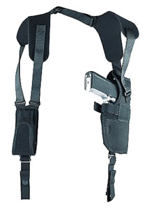Uncle Mikes Sidekick Vertical Shoulder Holster w/Harness & Speedloader Case, Left Hand, Model 83042, For 7-8 1/2 in Barrel Med/Large Dbl Action Revolvers
