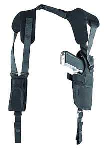 Uncle Mikes Sidekick Vertical Shoulder Holster w/Harness & Speedloader Case, Left Hand, Model 83002, For 2-3 in Barrel Sm/Med Dbl Action Revolvers