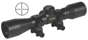 TruGlo Compact Shotgun Scope TG8504BD, 4x, 32mm Obj, 1 in Tube Dia, Matte Black, Diamond Ballistic Reticle