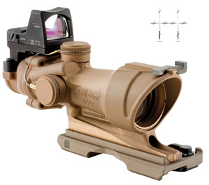 Trijicon ACOG ECOS Scope/RMR Sight Combo, 4x32, Dark Earth Brown                                                                                      , w/$50 Coupon For Future Order