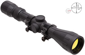 NCStar Full Size Rubber Tactical Rifle Scope SFR3940R, 3x-9x, 40mm Obj, 28mm Tube Dia, Black, P4 Sniper Reticle