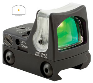 Trijicon RM08A33 Red Dot Scope, RM33, Ruggedized Miniature Reflex (RMR), Illuminated Amber Dot, 1x 22x16mm Obj, 12.9 MOA, LED, Unlimited Eye Relief, Black Finish