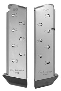 Chip McCormick 14111 8 Round 45 ACP Personal Defense Colt 1911 Stainless Magazine