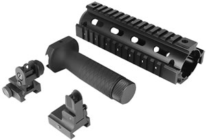 Aim Sports ACAR01 AR15/M4 Combo Kit, V1 Rail, Forend Grip And Sights