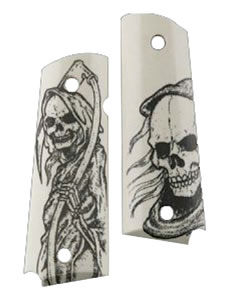 Hogue 45026 Govt Ivory Poly Grim Reaper Grip Panels
