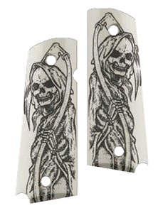 Hogue 45029 1911 Government Model Grip Panels Ivory w/Grim Reaper
