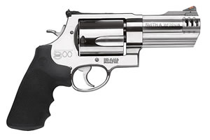 Smith & Wesson Model 500 Revolver 163504, 500 S&W, 4 in BBL, Sngl / Dbl, Syn Grips, Satin Stainless Finish, 5 Rds