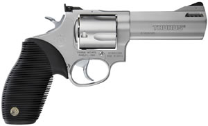 Taurus Model 44 Tracker Revolver 2440049TKR, 44 Remington Mag, 4 in BBL, Sngl / Dbl, Ribber Grip Overlay, Adj Sights, Stainless Finish, 5 Rds