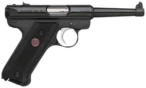Ruger Mark III Model MKIII4 Rimfire Pistol 10104, 22 Long Rifle, 4 3/4 in BBL, Sngl Actn Only, Blk Syn Grips, Fixed Sights, Blue Steel Finish, 10 + 1 Rds