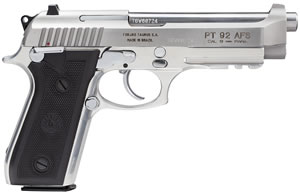 Taurus Model PT-92 Large Frame Pistol 192015917, 9 MM, 5 in BBL, Sngl / Dbl, Rubber Grips, Fixed Sights, Stainless Finish, 17 + 1 Rds