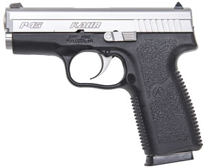 Kahr Model P40 Pistol KP4543, 45 ACP, 3 1/2 in BBL, Dbl Actn Only, Polymer Grips, Blk Polymer/SS Finish, 6 + 1 Rds