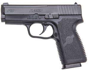 Kahr Model P9 Pistol KP9094, 9 MM, 3 1/2 in BBL, Dbl Actn Only, Syn Grips, Blk Polymer/Blk SS W/Tungsten DLC Finish, 6 + 1 Rds
