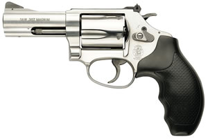 Smith & Wesson Model 60 Revolver 162430, 357 Remington Mag, 3 in BBL, Sngl / Dbl, Syn Grips, Satin Stainless Finish, 5 Rds
