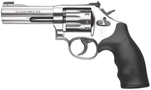 Smith & Wesson Model 617 Rimfire Revolver 160584, 22 Long Rifle, 4 in BBL, Sngl / Dbl, Syn Grips, Satin Stainless Finish, 10 Rds