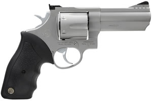 Taurus Model 44 Large Frame Revolver 2440049, 44 Remington Mag, 4 in BBL, Sngl / Dbl, Rubber Grips, Adj Sights, Mt Stainless Finish, 6 Rds