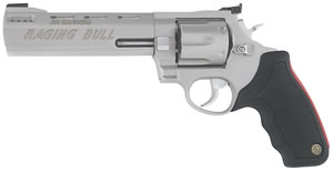 Taurus Model 44 Raging Bull Large Frame Revolver 2444069, 44 Remington Mag, 6 1/2 in BBL, Sngl / Dbl, Rubber Grips, Stainless Finish, 6 Rds