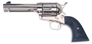 Colt Single Action Army Revolver P1841, 45 Long Colt, 4 3/4 in BBL, Sngl Actn Only, Blk Comp Grips, Fixed Sights, Nickel Finish, 6 Rds