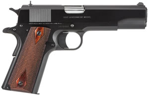 Colt 1991 Government Pistol O1991, 45 ACP, 5 in BBL, Sngl Actn Only, Rosewood Grips, 3-Dot Sights, Matte Blue Finish, 7 + 1 Rds
