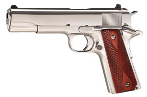 Colt Government Pistol O2071ELC2, 38 Super Auto, 5 in BBL, Sngl Actn Only, Rosewood Grips, 3-Dot Sights, Bright SS Finish, 9 + 1 Rds