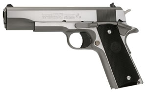 Colt 1991 Government Pistol O1091, 45 ACP, 5 in BBL, Sngl Actn Only, Blk Rubber Grips, 3-Dot Sights, Stainless Finish, 7 + 1 Rds